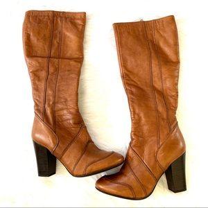 Aldo 70s Knee High Cognac Leather Heel Boots